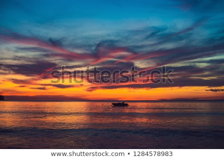 gold sunset over beach with wave splashes in summer of Thailand Stock photo © galitskaya