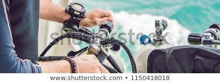 Plongeur équipement plongée mer bannière longtemps Photo stock © galitskaya
