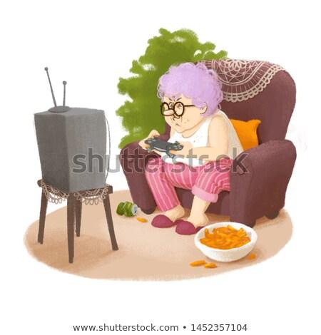 Avó cartão postal bonitinho ilustração relaxar Foto stock © vasilixa