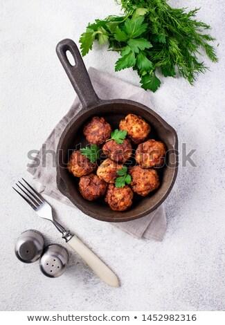 házi · készítésű · marhahús · húsgombócok · felső · kilátás · hús - stock fotó © furmanphoto