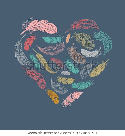 Bohemian style poster with gypsy colorful feathers, arranged in heart Stock photo © marish