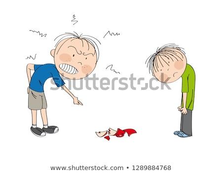 Cartoon colère crayon tasse blanc noir illustration Photo stock © bennerdesign