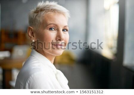 mulher · bonita · cinza · blusa · isolado · branco · mulher - foto stock © nyul