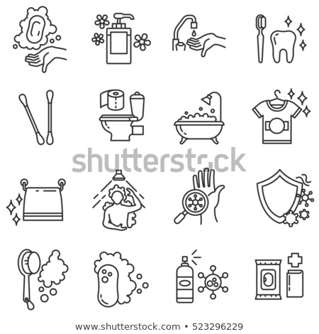 Bacteria Germ And Hand Vector Sign Thin Line Icon Stock photo © pikepicture