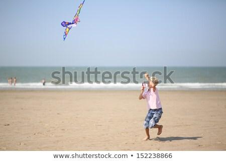 Summer Fun Boy Running at Coastline with Wind Kite Stock photo © robuart