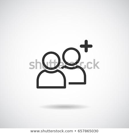 vrienden · icon · vector · lang · schaduw · web - stockfoto © smoki