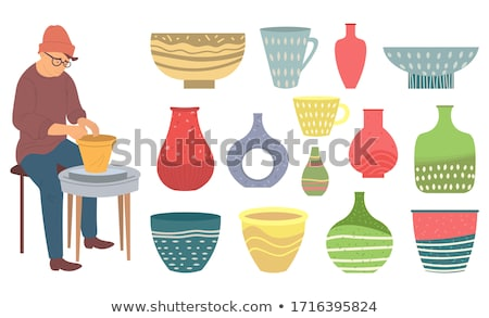 plate and bowl rustic jug tableware set vector stock photo © robuart