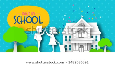 Back to school papercut kid friends and landscape Stock photo © cienpies