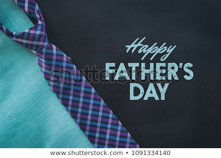 Fathers Day card of plaid background and tie Stock photo © cienpies