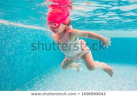 jonge · vrouw · baby · zwembad · familie · zomervakantie - stockfoto © lopolo