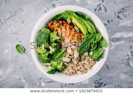 porción · cocido · alimentos · mesa · verde · placa - foto stock © alex9500