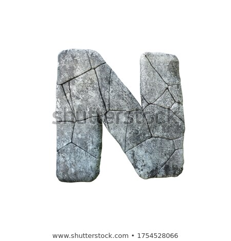 Concrete fracture font Letter N 3D Stock photo © djmilic