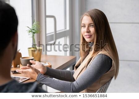 portret · twee · jonge · vrouwen · restaurant · jonge · mooie - stockfoto © pressmaster