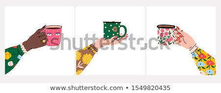 Woman Drinking Hot Beverage in Restaurant Vector Stock photo © robuart