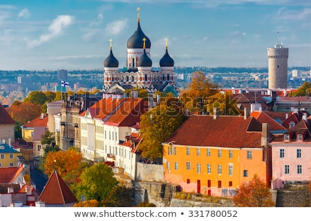 Kilátás falak Tallinn Észtország templom domb Stock fotó © borisb17