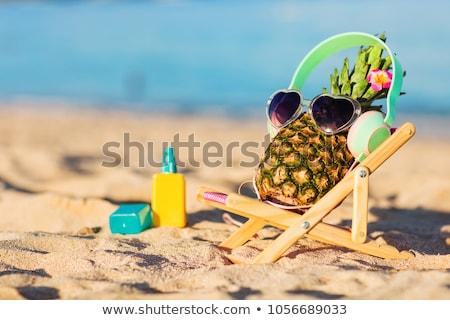 Ananas lunettes de soleil paire rose jaune Photo stock © nito