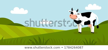 Cattle Character Pasturing on Summer Meadow Vector Stock photo © robuart