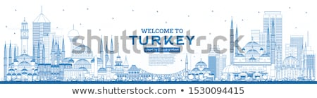 Outline Istanbul Skyline with Blue Landmarks and Copy Space.  Stock photo © ShustrikS