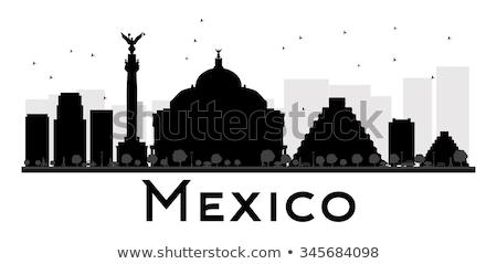 Mexico City skyline black and white silhouette. Stock photo © ShustrikS