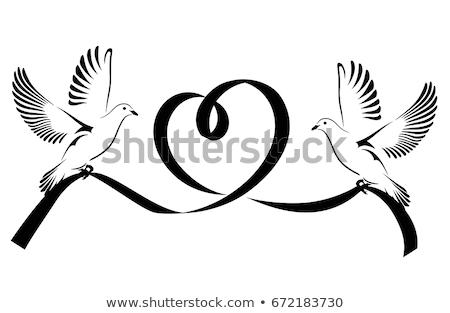 Black ribbon with peace dove. Vector illustration Stock photo © Imaagio