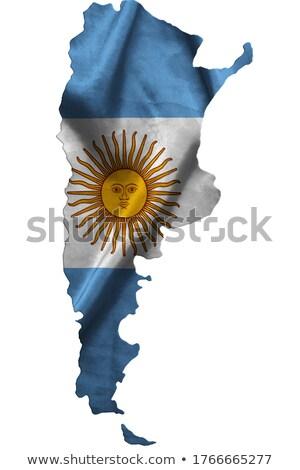 Argentinien Land 3D Silhouette Flagge weiß Stock foto © evgeny89