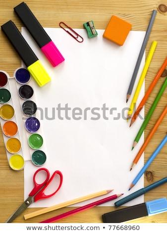 Grafik tasarım boya kalemleri levha araçları ofis kâğıt Stok fotoğraf © yupiramos