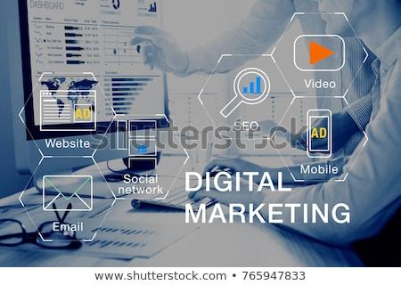 Smartphone marketing analytics telefoon wereld scherm Stockfoto © AndreyPopov