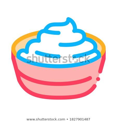 Kom afgewerkt mayonaise icon vector schets Stockfoto © pikepicture
