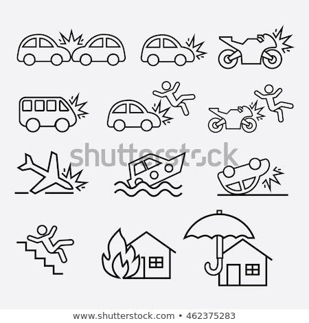 house crash icon vector outline illustration Stock photo © pikepicture