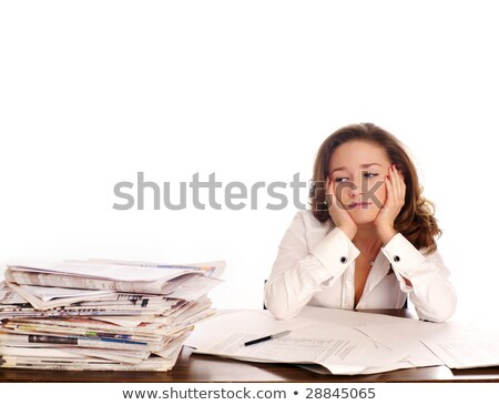 Too much work. A stressed businesswoman has a headcahe.  Stock photo © dacasdo