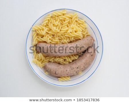 Foto stock: Dois · salsichas · branco · fundo · carne · alimentação