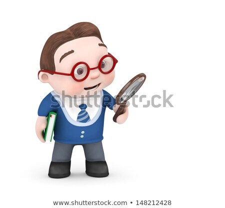 3d small people holds a magnifier 3d image isolated white back stock photo © dacasdo