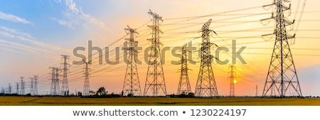 высокое напряжение власти линия башни низкий широкоугольный Сток-фото © ravensfoot