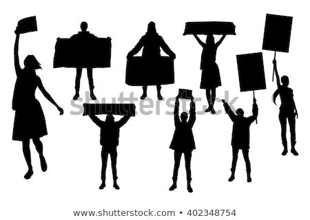 nő · tart · munkanélküliség · felirat · gyönyörű · fiatal · nő - stock fotó © piedmontphoto