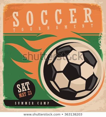 Stockfoto: Oude · poster · voetbal · gras · muur · achtergrond
