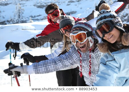 group of teenagers on a ski trip stock photo © photography33