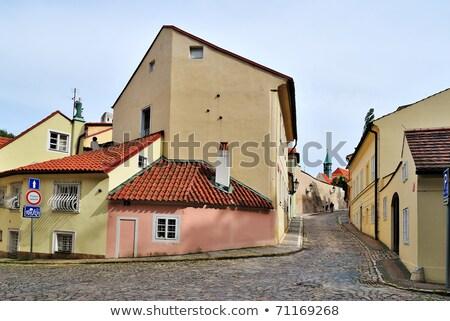 dar · sokak · Prag · eski · bölge · gündoğumu - stok fotoğraf © photocreo