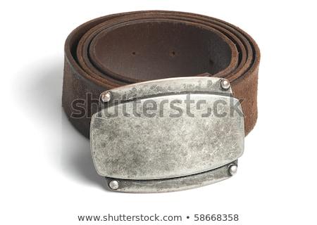 ブラウン · ベルト · 青銅 · バックル · 孤立した · 白 - ストックフォト © marylooo