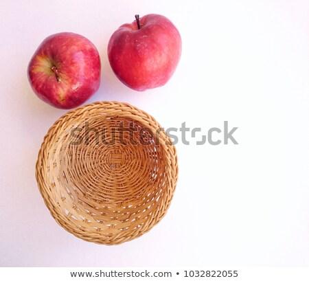 Iki sarı elma sepet yalıtılmış beyaz Stok fotoğraf © boroda