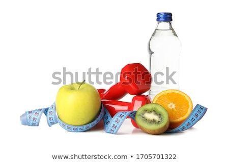 Exercer dieta saudável par halteres verde maçã Foto stock © ruigsantos