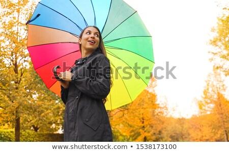 Belle heureux femme parc regarder Retour Photo stock © alexandrenunes