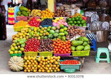 Мангостин тропические экзотический фрукты рынке тропические фрукты Сток-фото © travelphotography
