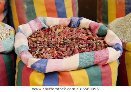 Secado chile pimientos Oriente Medio mercado Cairo Foto stock © travelphotography
