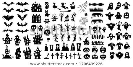 Halloween elemek szett 12 vektor fekete Stock fotó © timurock