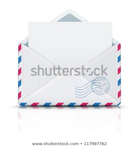 retro · poczta · lotnicza · kopercie · funky · pieczęć · odizolowany - zdjęcia stock © oblachko