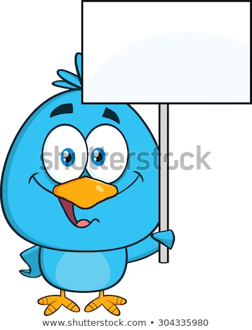 Birds With Blank Sign Stok fotoğraf © HitToon