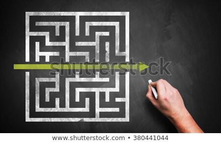solução · labirinto · empresário · homem · ajudar - foto stock © ivelin