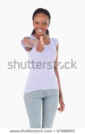 boldog · nő · remek · kézmozdulat · jókedv · magasról · fotózva - stock fotó © wavebreak_media