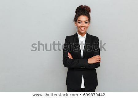 belle · africaine · femme · d'affaires · cheveux · courts · costume · noir · blanche - photo stock © Forgiss