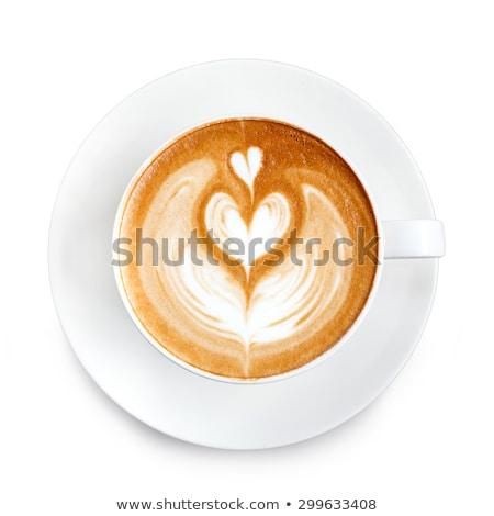 Torta tányér csésze kávé izolált fehér Stock fotó © Roka